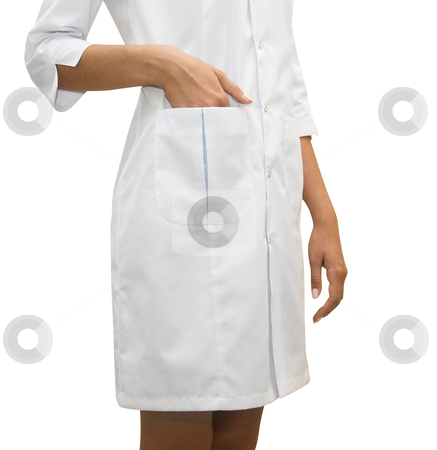 Nurse stock photo, Close up of White Nurse coat isolated on white  by olinchuk