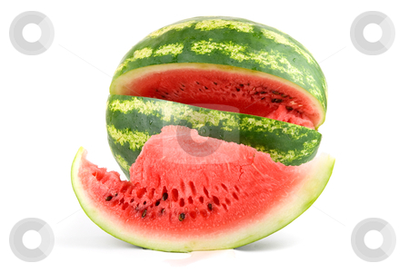Watermelon  stock photo, Ripe Watermelon isolated on white background by olinchuk