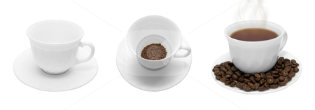 Coffee cup stock photo, Set of white coffee cup with beans and steam isolated on white by olinchuk
