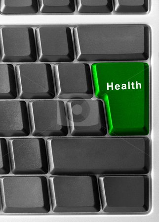Health  stock photo, computer keyboard with health button  by olinchuk