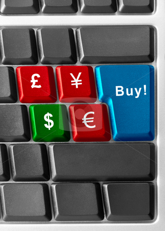 Buy dollars! stock photo, computer keyboard with currency buttons by olinchuk