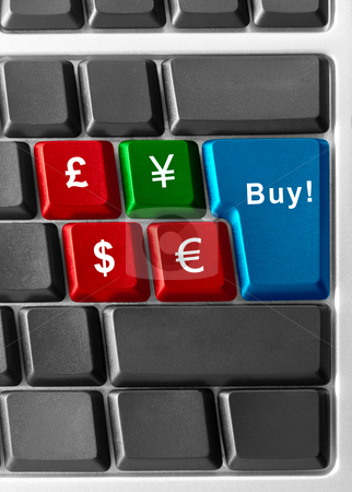 Currency tender stock photo, computer keyboard with  color currency buttons by olinchuk
