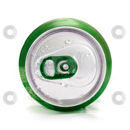 Green aluminum can stock photo, Green aluminum can closeup with water drops on a white by olinchuk