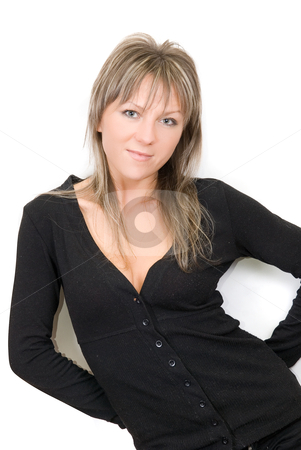Women in black stock photo, Beauty young women portrait isolated on a white background by olinchuk