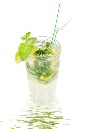 Mojito alcohol fresh cocktail stock photo, mojito alcohol fresh cocktail with lemon and lime isolated on a white  by olinchuk