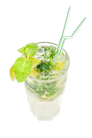 Mojito alcohol fresh cocktail stock photo, mojito alcohol fresh cocktail isolated on a white by olinchuk