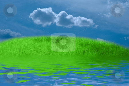 Seashore stock photo, Green grass, blue dramatic sky and white clouds by olinchuk