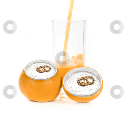 Orange juice aluminum can stock photo, Fresh pouring orange juice with fruits as aluminum can isolated on a white background by olinchuk