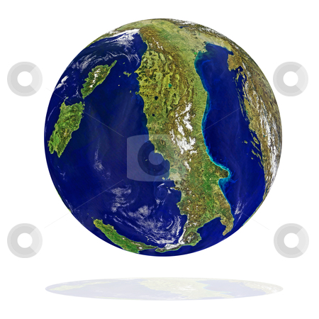 Italy  stock photo, Earth planet with Italy at front on a white background by olinchuk