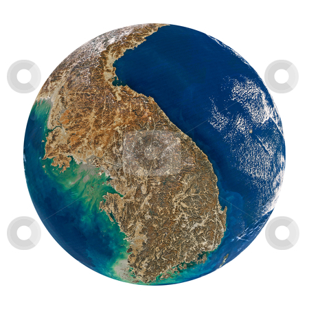 Korea at the planet stock photo, Planet earth with Korea isolated on black. Data source: nasa web site. by olinchuk
