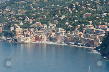 Camogli, Italy stock photo, aerial view of Camogli, famous small town in Liguria, Italy by ANTONIO SCARPI