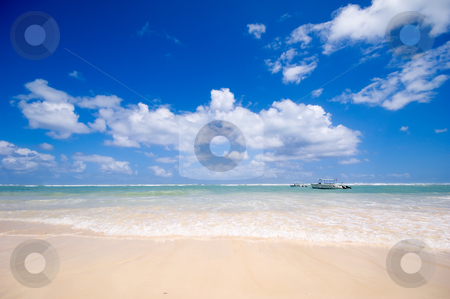 Beach stock photo, Exotic beach with waves washing in. Dominican Republic. by Lars Christensen