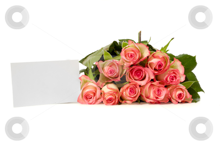 Roses with gift card stock photo, Bouquet of rose flowers with a blank gift card, isolated on white background. Write your own message. by Lars Christensen