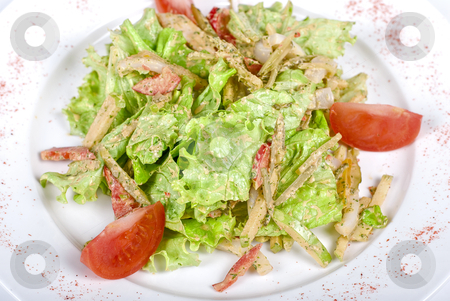Salad of squid with roast chiken stock photo, Salad of squid with roast chicken meat, apples, tomatoes, eggs and peppers by olinchuk