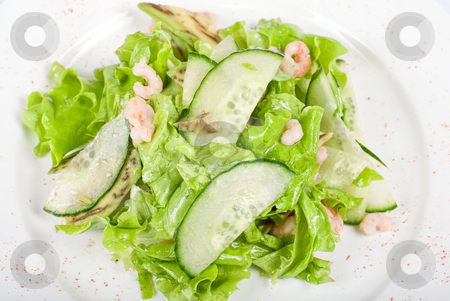 Shrimp salad stock photo, shrimp salad with cucumber and avocado by olinchuk