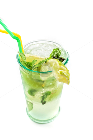 Mojito stock photo, classic mojito alcohol fresh cocktail isolated on a white by olinchuk