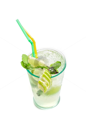 Mojito coctail stock photo, Fresh mojito cocktail isolated on a white bacground by olinchuk