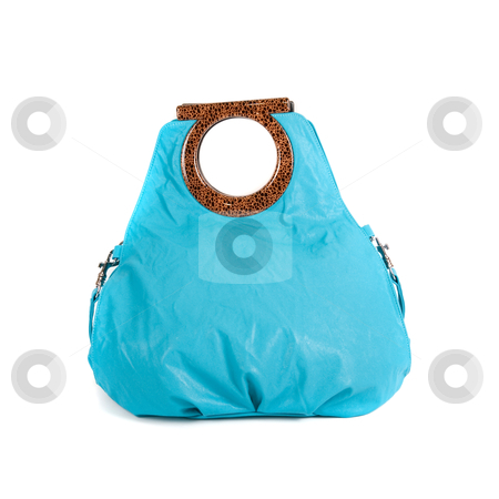 Blue women bag stock photo, blue women bag isolated on white background by olinchuk