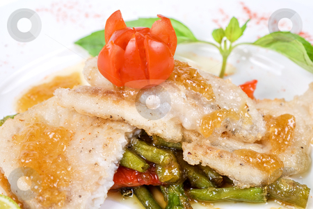 Roast halibut stock photo, halibut filet roast at lime juice with vegetables by olinchuk