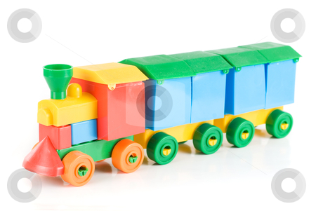 Colorful train stock photo, Colorful train toy isolated on white background by olinchuk