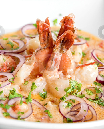 King shrimps stock photo, King shrimps with vegetables at cream sauce by olinchuk