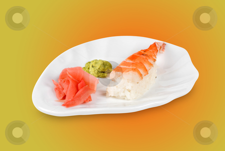 Nigiri sushi stock photo, nigiri sushi closeup isolated on color background by olinchuk