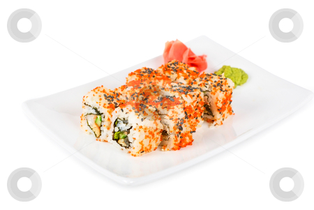 Sushi stock photo, Sushi rolls at plate isolated on a white by olinchuk