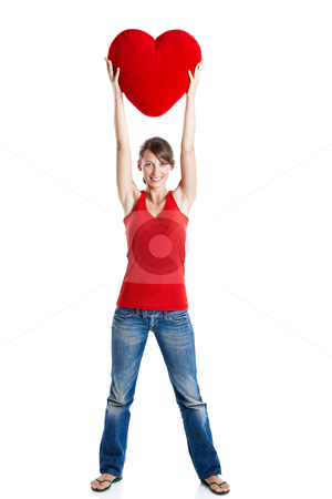Valentine woman stock photo, Beautiful young woman holding a red heart, Valentine concept by ikostudio