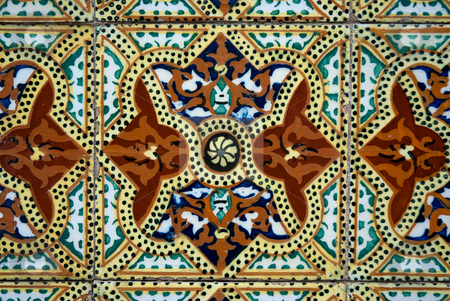 Traditional Portuguese azulejos stock photo, Traditional Portuguese azulejos - painted ceramic tilework by Homydesign