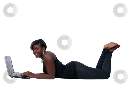 College Student stock photo, A black African American woman college student working on a laptop by Robert Byron