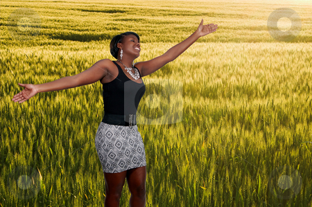 Black Woman in Winter Wheat Field stock photo, An allergy free african american black woman in a field of winter wheat by Robert Byron