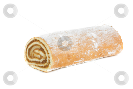 Swiss roll stock photo, Swiss roll closeup isolated on a white background by olinchuk