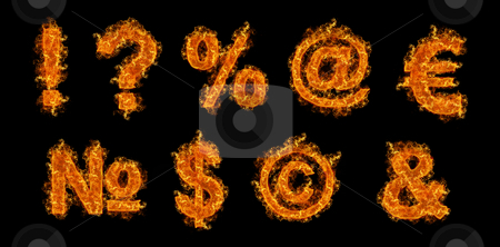 Set of Fire signs stock photo, Set of Fire signs on a black background by olinchuk