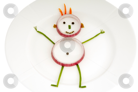 Vegetable man on dish stock photo, Man made out of vegetables on a dish by Lars Christensen