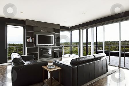 Living Area stock photo, A modern home living area with a beautiful view. by thisboy
