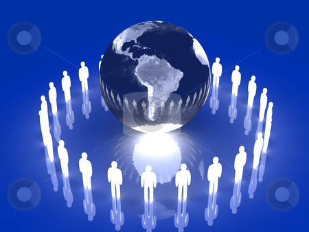 Glowing Global Team - South America  stock photo, 3D rendered illustration. 