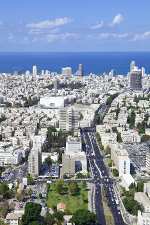 Cityscape stock photo, Tel Aviv  skyline / Aerial view of  Tel Aviv by Dmitry Pistrov