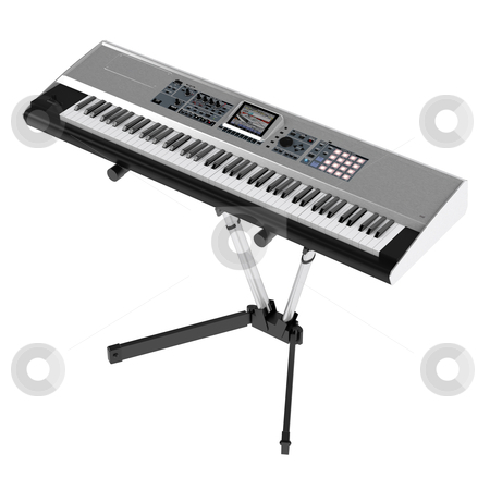 Synthesizer stock photo, Synthesizer isolated on white background by Nmorozova