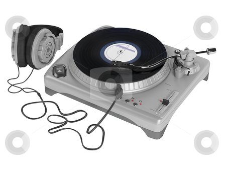 Turntable stock photo, Turntable isolated on white background by Nmorozova