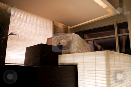 Modern Sculpture stock photo, Modern sculpture of boxes of stone and water by Kevin Tietz