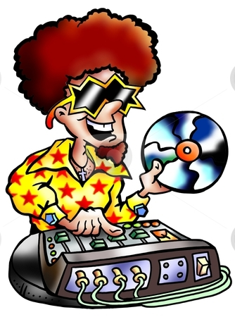 DJ with big red hair holding an old vinyl record  stock photo, DJ with big red hair holding an old vinyl record  by DrawShop - Poul Carlsen