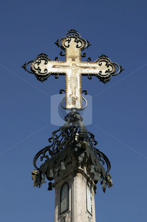 Orthodox cross stock photo, Ortodox chross on top of the church tower by Tomislav Konestabo