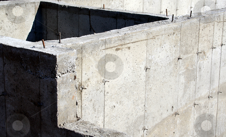Foundation Closeup stock photo, A closeup of the cement foundation of a new housing development.  by Chris Hill
