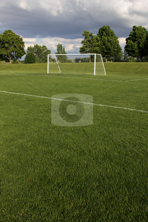 Unoccupied Soccer Field stock photo, A view of a net on a vacant soccer pitch.  by Chris Hill
