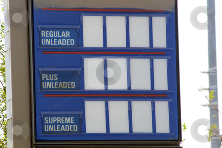 Blank Gasoline Price Sign (2) stock photo, Close-up of a service station gasoline price sign with blank white squares for number or symbol placement. by Carl Stewart
