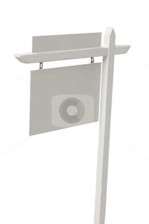 Blank Real Estate Sign on White with Clipping Path. stock photo, Blank Real Estate Sign Isolated on a White Background with Clipping Path. by Andy Dean