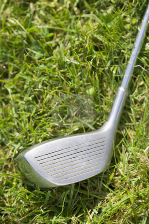 Golf club driver laying in grass, concept photography stock photo, Golf club, concept photography by Bryan Mullennix