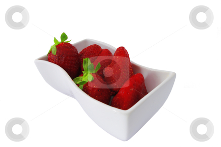 Strawberries stock photo, isolated Strawberries in white bowl over white by JelenaKa7