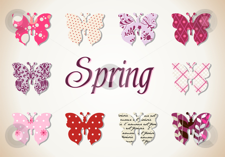 Butterflies spring pattern stock photo, pattern Illustration of butterflies in warm and pink tones. Vector file available. by Cienpies Design