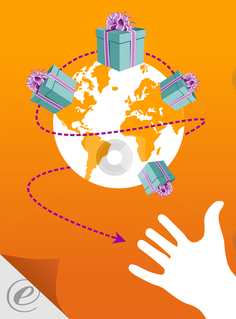 E-commerce: the world in your hand stock photo, A hand near the world sorrounded by gift boxes, in an e-commerce context by Cienpies Design
